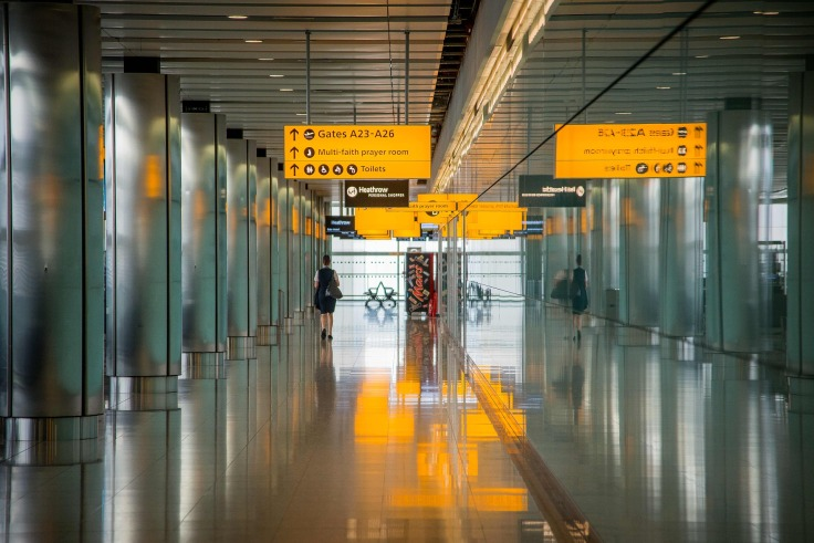 Airport hallway gates A23 to A26
