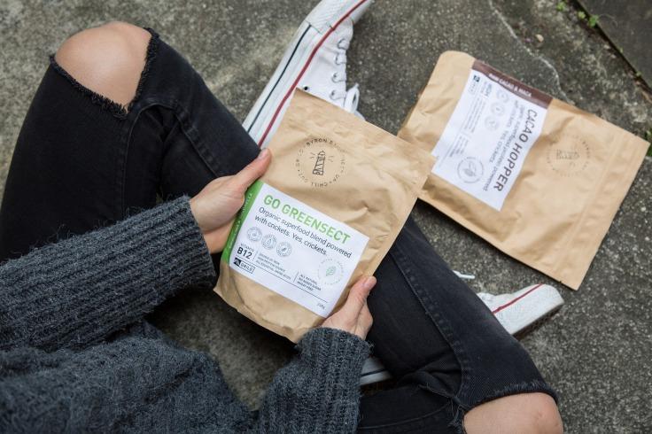 Sacs de farine de grillons dans les mains d'une personne