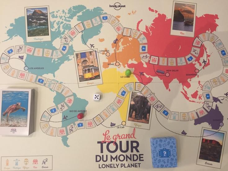 Planche de jeu et cartes du jeu de société Le grand tour du monde