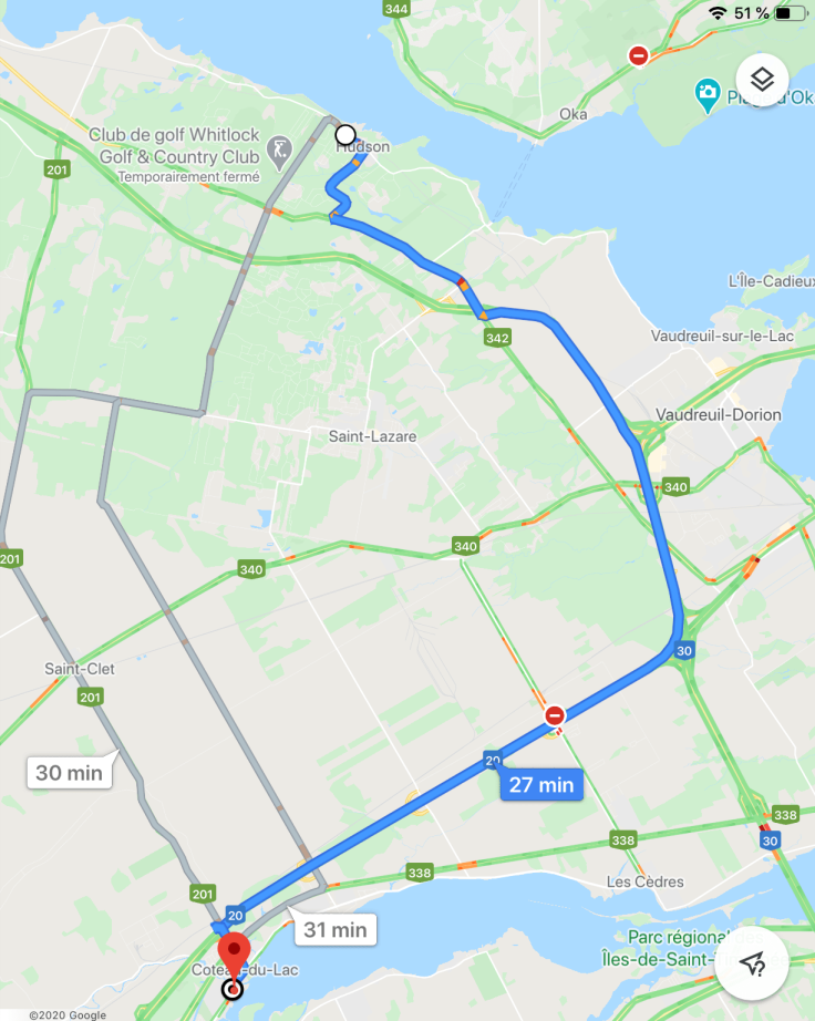 Carte géographique et itinéraire entre Hudson et Côteau-du-Lac, Québec