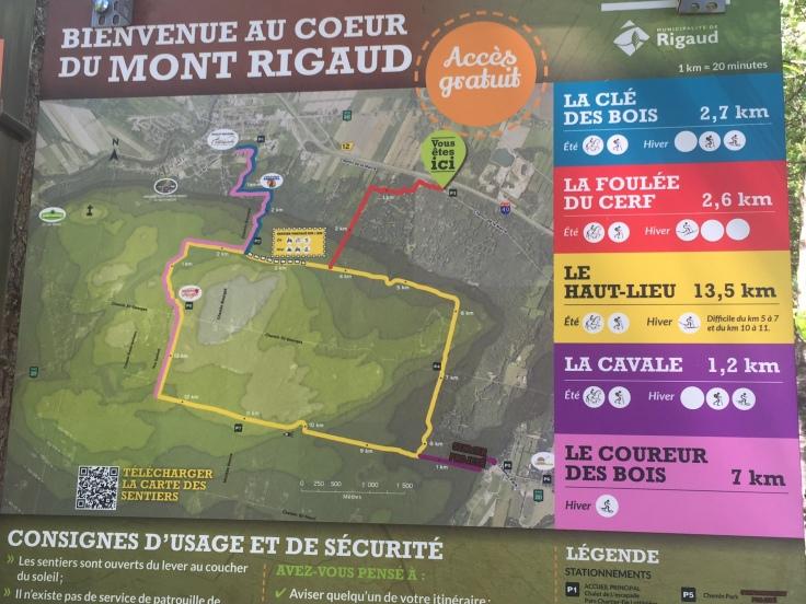 Carte des sentiers des sentiers de l'escapade de Rigaud