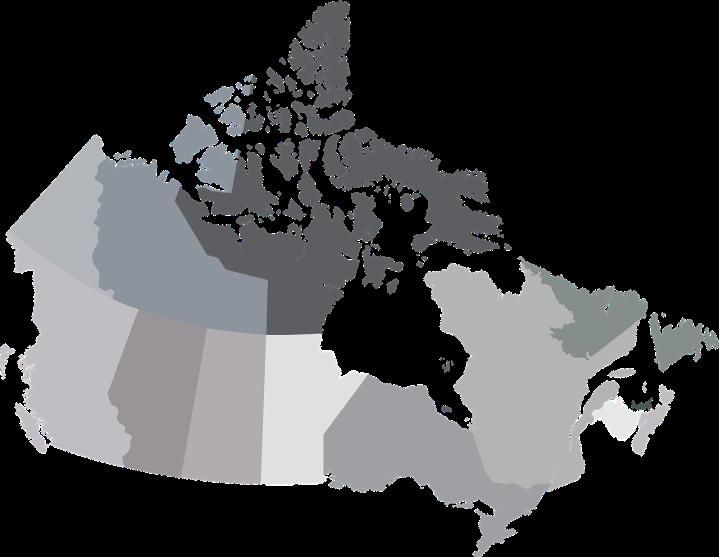 Carte du Canada séparée en provinces et territoires