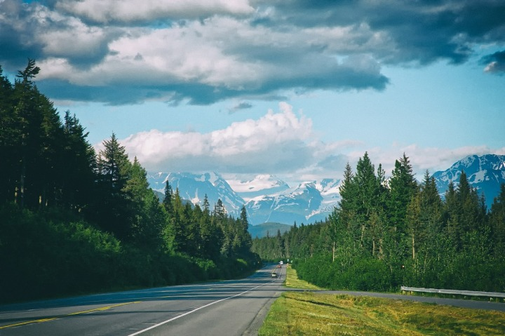route-asphaltée-entourée-de-sapins-verts-et-montagnes-enneigées-au-loin